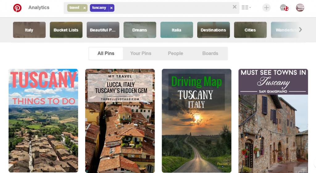 wyszukiwanie inspiracji na portalu Pinterest